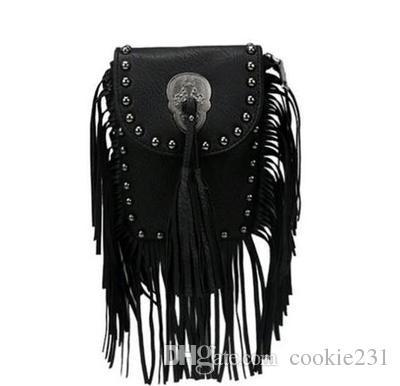 Wholesale 2018 Women Black Tassel Bag Classic Flap Bag PU Leather Small  Shoulder Crossbody Bags For Women Rivets Skull Clutch Handbag Leather Purse  Womens ... 293b32a6c50b