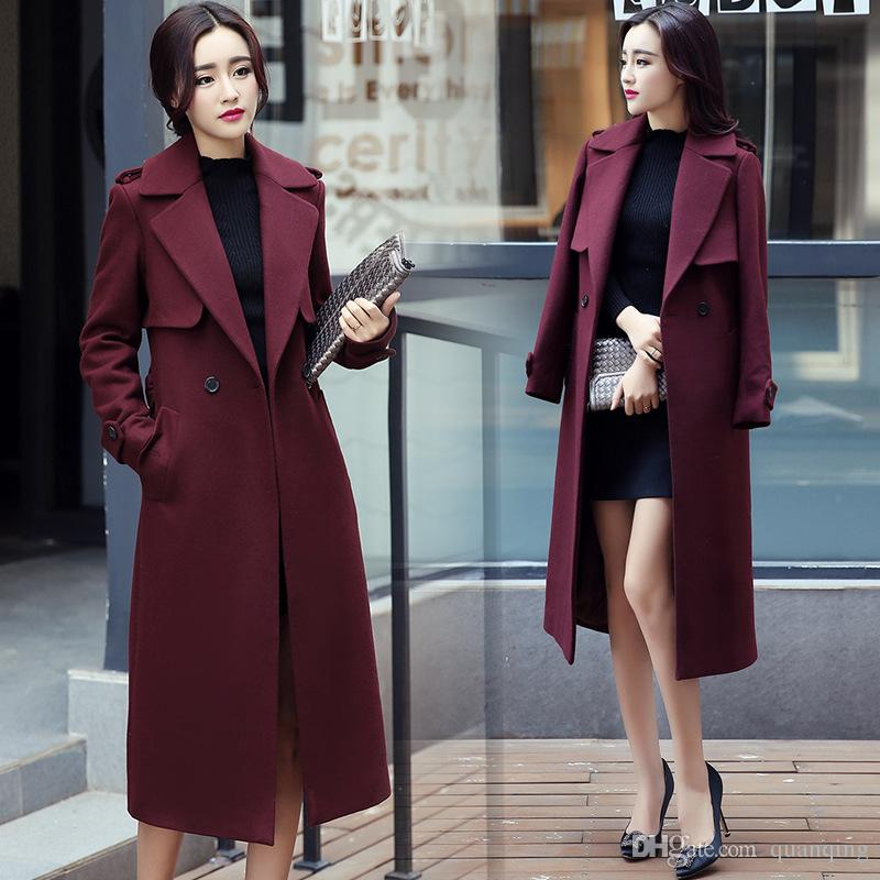 2017 High End Ladies Winter Parker Dress Double Sided Cashmere ...