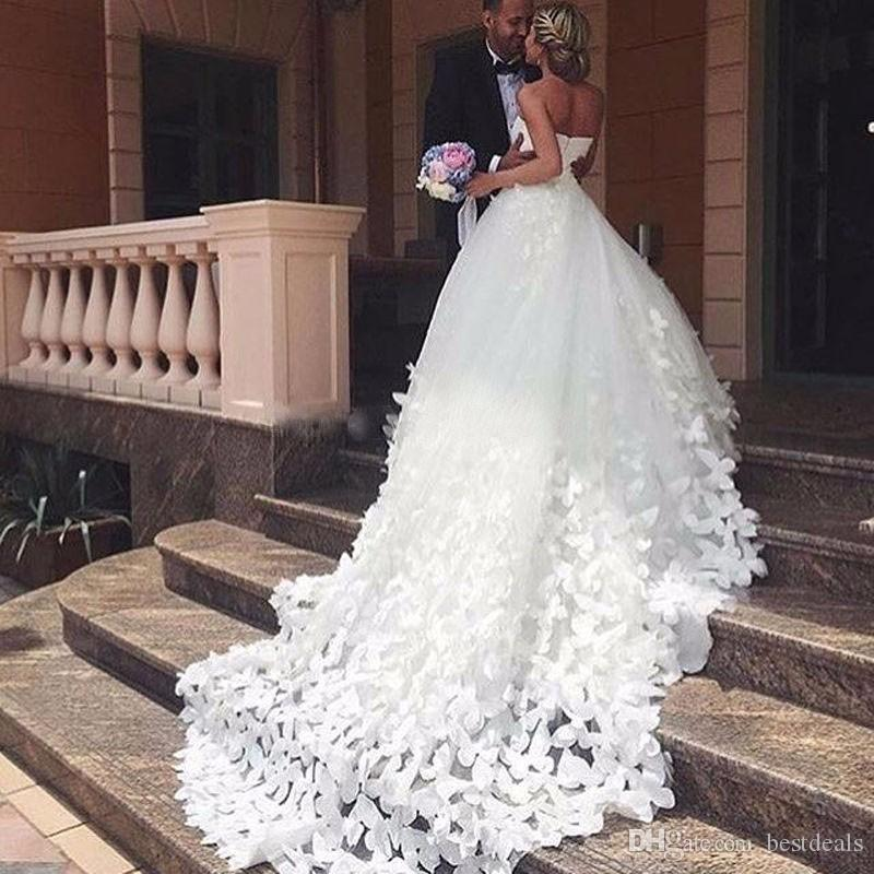 Butterfly Wedding Gown: Discount Ball Gowns Wedding Dress 2017 Handmade Butterfly