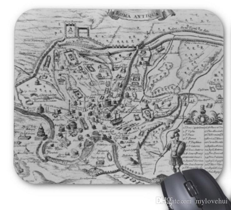 Rectangular non-slip natural rubber mouse mat map of ancient rome computer accessories office supplies mouse pad of gift