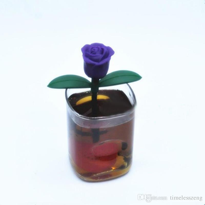 Cute Silicone Rose Heart Shape Tea Infuser Teabag Kettle Loose Tea leaf Strainer Ball Holder Herbal Filter Teapot Tool