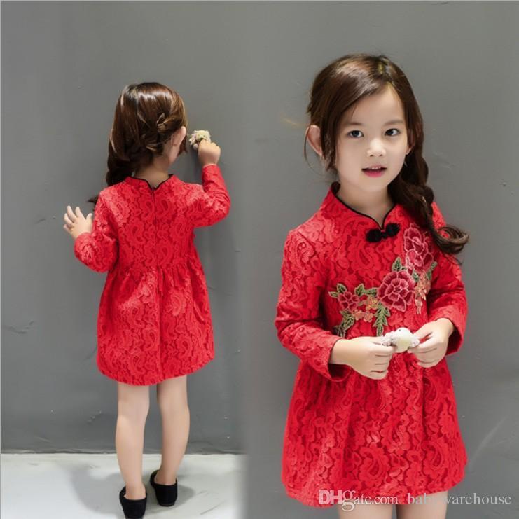 40e887a0dd44e Acheter Style Chinois Fille Robe Nouvel An Bébé Filles Vêtements Mignon Rouge  Robe De Broderie Enfants Princesse Floral Robe Vêtements Pour Enfants Top  ...