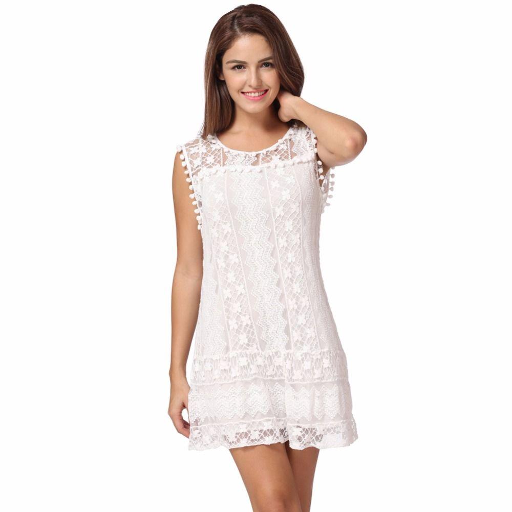 4a6934a7595c 2019 Wholesale 5XL Summer Dress 2017 Sexy Women Casual Sleeveless Beach  Short Dress Tassel White Mini Lace Dress Vestidos Plus Size Sundress From  Peay, ...