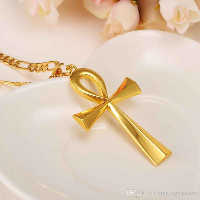 Sarı Katı Altın Dini ANKH Çapraz Charm Kolye Kolye Mısır Barış İnanç YENI
