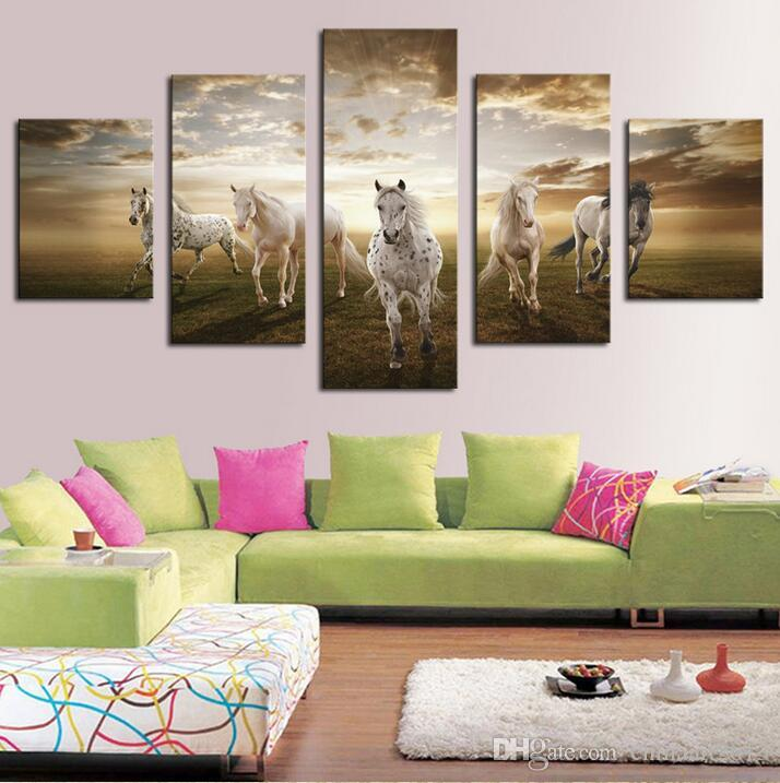 Unframed Art Pictures Running Horse Large HD Modern Home Wall Decor Abstract Canvas Print Oil Painting