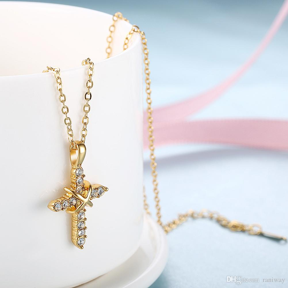 Elegant Round Cut Cz Cubic Zirconia Gold Plated Antique Crucifix Cross Pendant Necklace with 19.6 inch Chain Classical Women Jewelry Gift