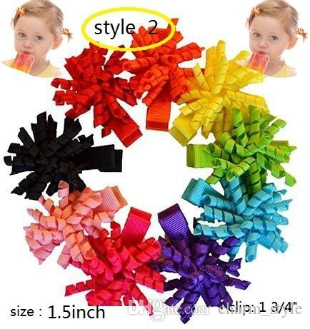 4 style available korker hair clip Boutique Girls ribbons curly Corkscrew Grosgrain Ribbons curled Hair Bow Barrettes 60pcs
