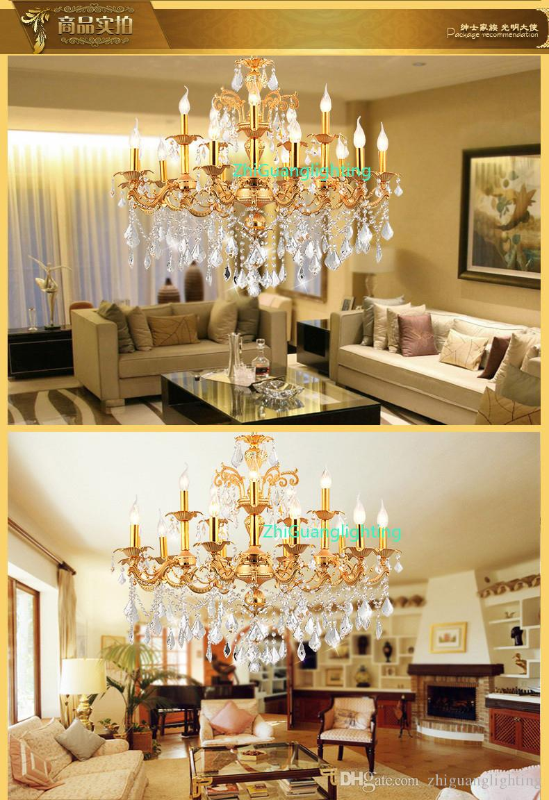 Высокий конец гостиной лампы сплава цинка хрустальная лампа люстра главная спальня гостиничный номер лампа светодиодные люстры