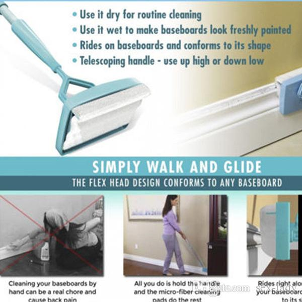 Details about Baseboard Buddy Cleaning Mop Blue Plastic Steel white Mop Simply Walk &Glide Extendable Microfiber Dust Brush