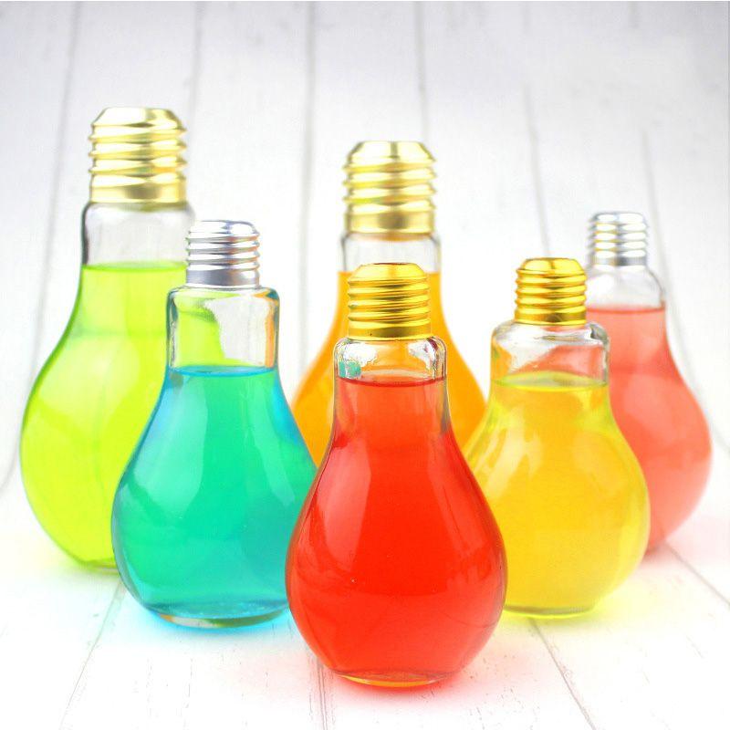 creative eyecatching light bulb shape tea fruit juice drink bottle cup lead free glass bottle home office desk decoration