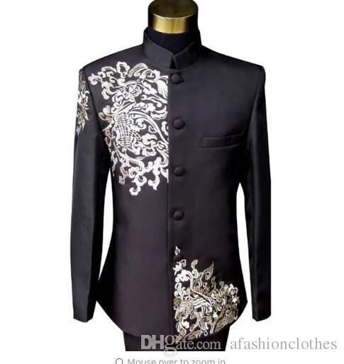 Collection Here New Autumn Mens Jacket Fashion Personality Embroidered Jacket High Quality Male Casual Slim Suit Jacket Plus Size Stage Costumes Jackets