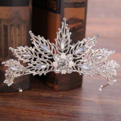 Unique Bridal Crown Tiara CZ Crystal Decorated Silver Tone Leaf Wedding Hair Accessories Hair Jewelry Bridal Head Pieces