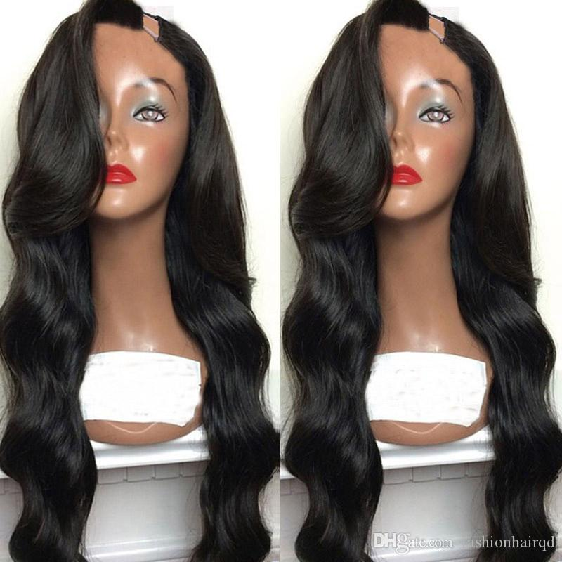 Peruvian Body Wave U Part Human Hair Wigs Middle Left Right U Part Virgin Hair Wigs For Black Women Natural Color 8-26 inch