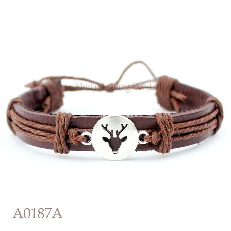 ANTIQUE BRASS SILVER CHARM Adjustable Antler Buckhorn Leather Cuff Bracelets for Men & Women Friendship Punk Casual Jewelry
