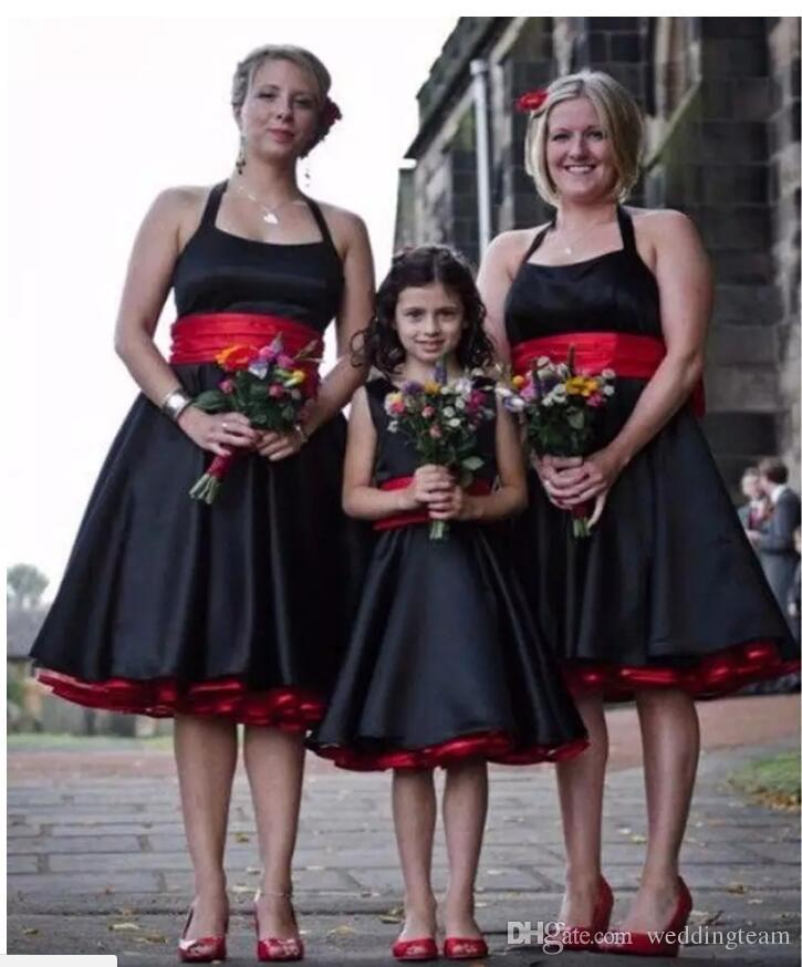 2017 Vintage Black And Red Halter Bridesmaids Dresses Ball Gown Knee