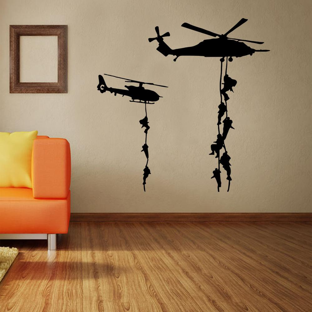 5757cm home decoration art wallpaper mural the armed helicopter removable wall decor sticker living room and boys room removable stickers for wall - Abnehmbare Backsplash Lowes