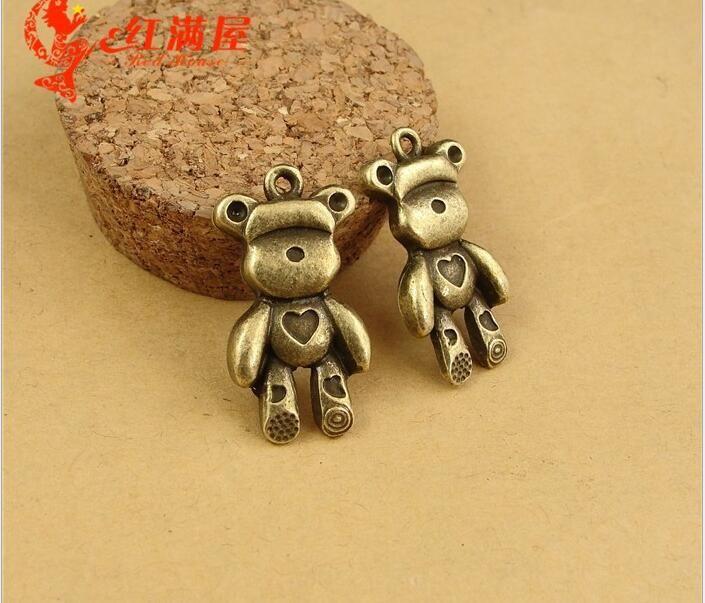 15*29MM Zinc alloy retro bronze heart bears charm Korean metal animal-shaped cartoon jewelry animal pendants, new ZAKKA DIY accessories