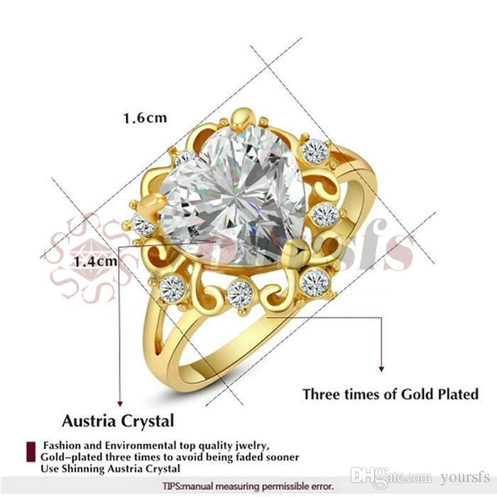 Yoursfs Rings Hot Sale Romantic 18 K White Gold Plated Rhainstone Finger Ring Use Austria Crystal Ocean Heart Wedding Rings For Women Gift