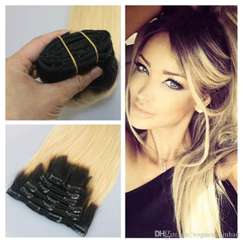 Two Tone Clip In Human Hair Extensions Ombre Clip In Hair Extensions