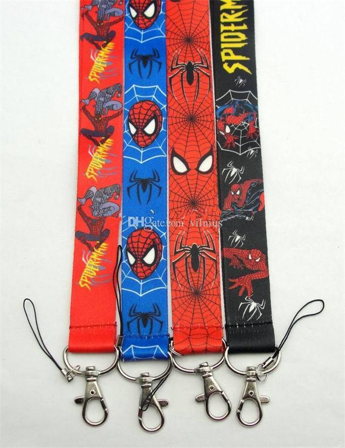 Nouveau Mixte Conception de Bande Dessinée Super-héros Spiderman Classique Lanières Clés Appareil-photo Carte d'identité Lanière Mobile Téléphone Cou Sangles