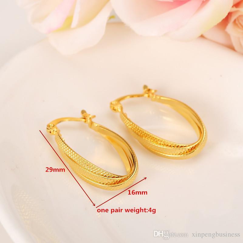 Brincos da moda Mulheres 24 K Amarelo Real Ouro Sólido GF jóias Árabe Oriente Médio África Indiano Brasileiro Dubai Jóias Tecnologia manter