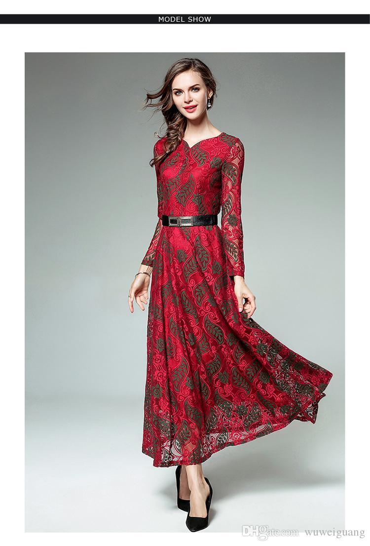 Frauen rot Elegante Kleider sexy Mode 2017 Spitze Frauen Maxi Kleid Designs  plus Größe Langarm Kleidung 3d48796577