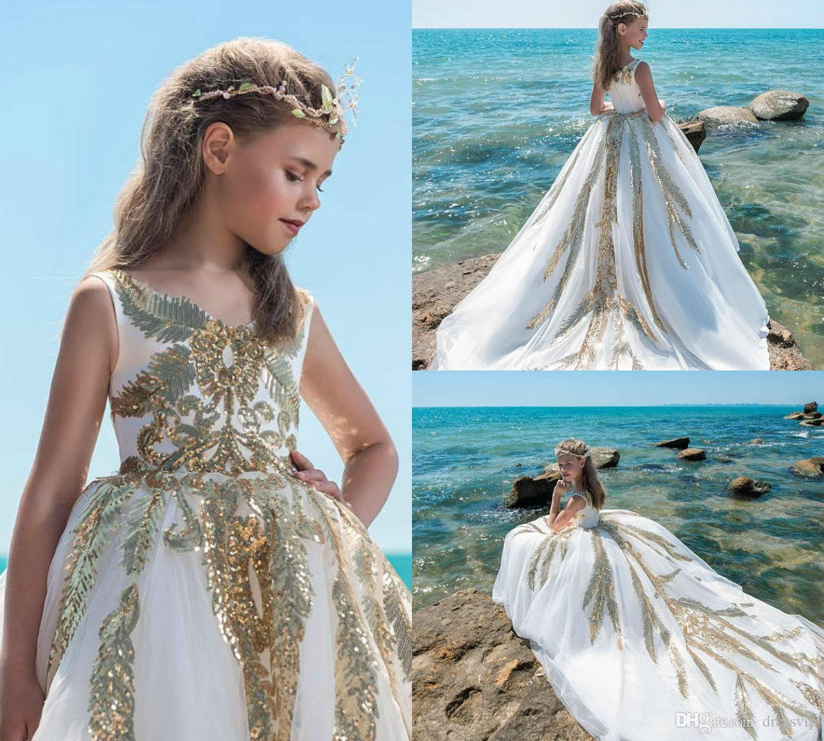 Ivory And Gold Flower Girl Dresses For Wedding Bling Sequins ...