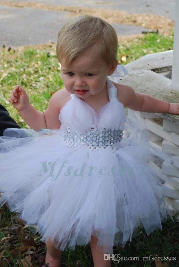 2017 New Cute White Flower Girl Dress Knee Length Children Dresses Beads Tutu Tulle Baby Dress Occasions Dress For Birthday Party Custom