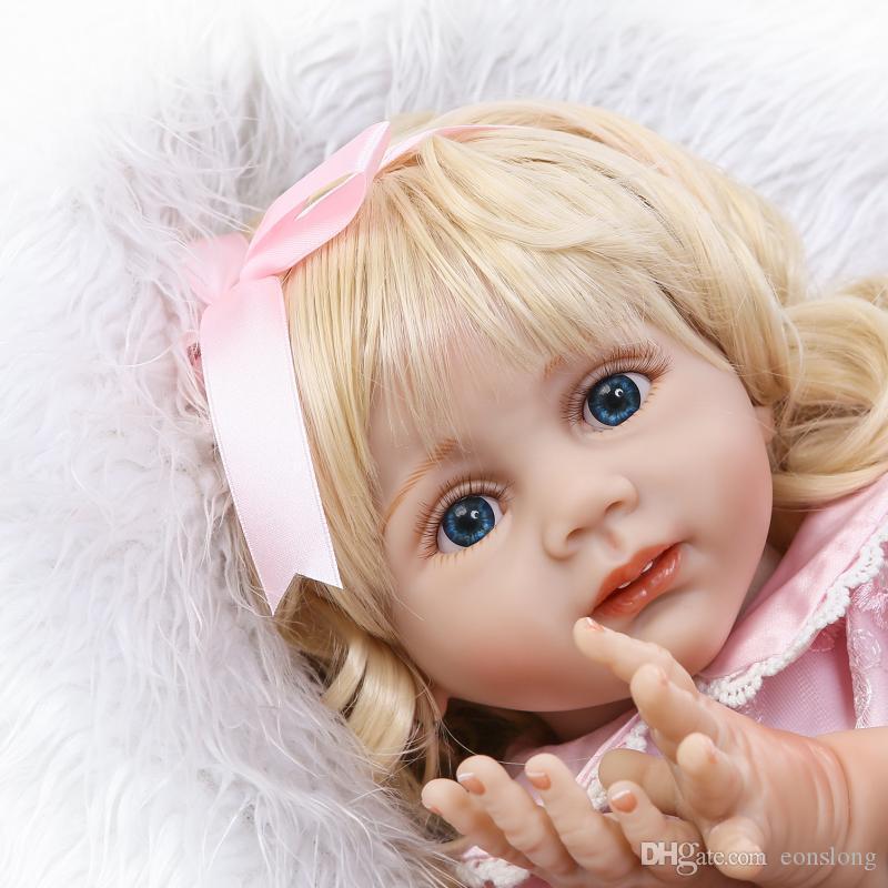 24 дюйма Reborn Reborn Baby Реалистичные мягкие силиконовые винил малыш девушка куклы длинные волосы для женщин девочек подарок