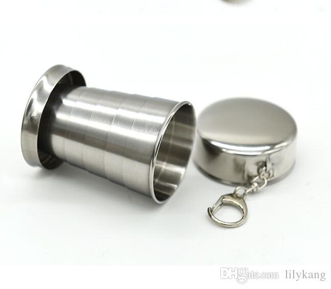 250мл 150мл 60ML нержавеющей стали Портативный складной телескопический складной Кубок Открытый Путешествие Чашку Keychain Туризм Сложенные Чашки оптом