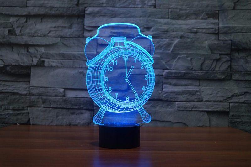 3D Alarm Clock Night Light Change night light Mood Bedroom Livingroom Cafe Bar Light Lamp Child DHL free
