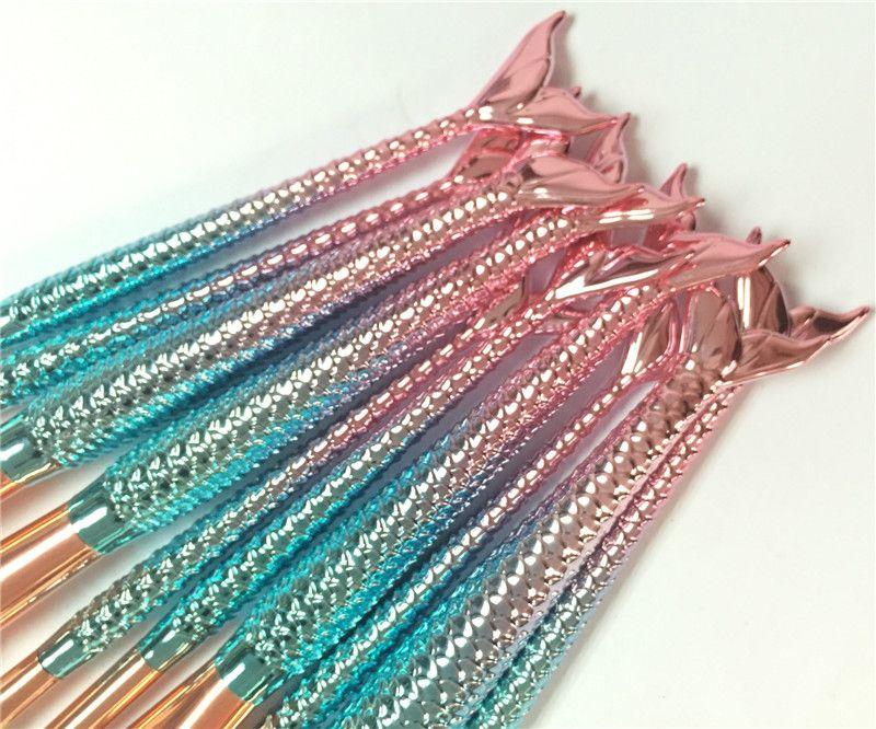 10 unids / set Pinceles de Maquillaje Conjunto Sirena 3D Diseño de la Manija Blush Powder Foundation Sombra de Ojos Ceja Lip Fan Fan Blending Make Up Brush DHL Gratis
