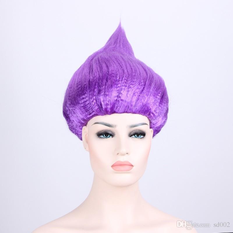 TAnime Sihirli Sihirbazı Peruk Çok Renkler Trolls Peruk Çocuk Cosplay Cadılar Bayramı Parti Malzemeleri Sıcak Satış 15 5xy Bkk