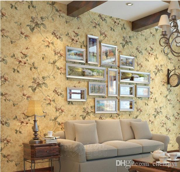New 10m 53cm American Village Retro Pastoral Style Eco Nonwovens Flower Wallpapers Light Green Living Room Bedroom Tv Wall Paper