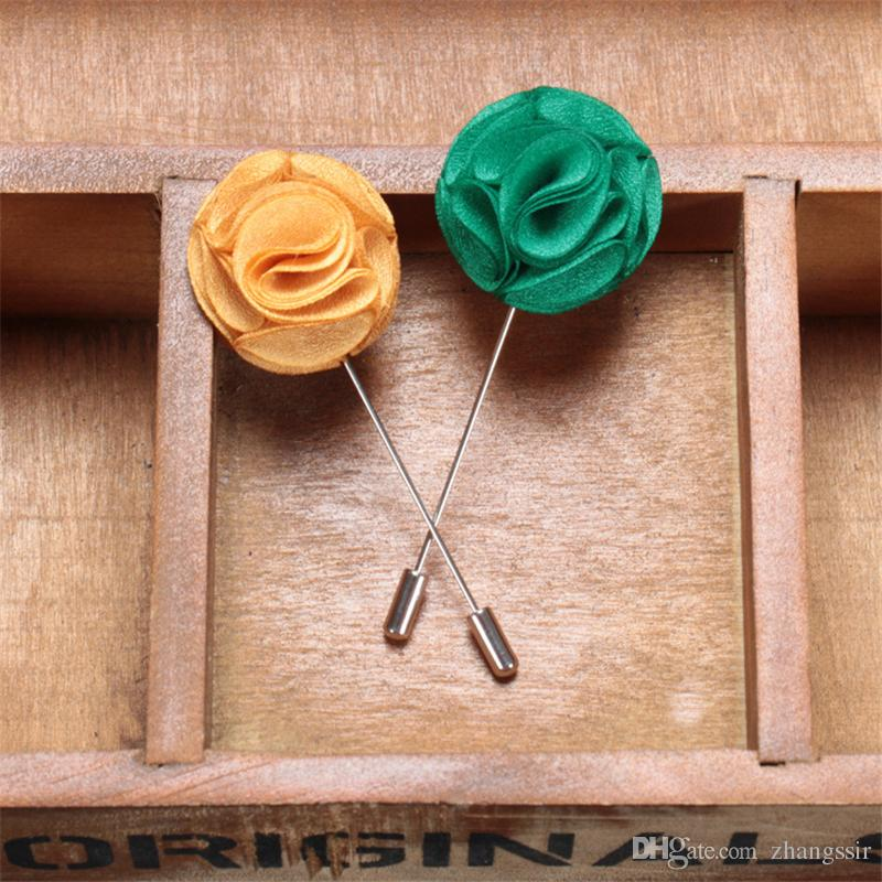 BoYuTe Hand Made Men Lapel Pins for Suits Fashion Fabric Flower Brooch Wedding Boutonniere Pins Christmas Ornament