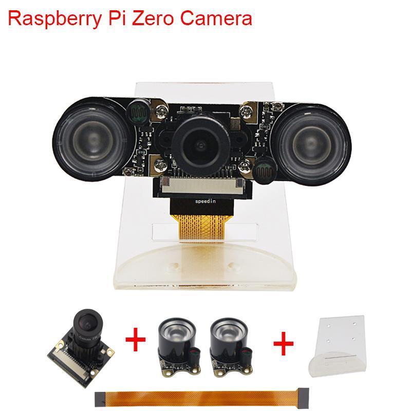 Freeshipping New Raspberry Pi Zero W Camera Focal Adjustable Night Vision  Camera 2 pcs IR Sensor LED Light 16 cm FFC Acrylic Holder RPI0