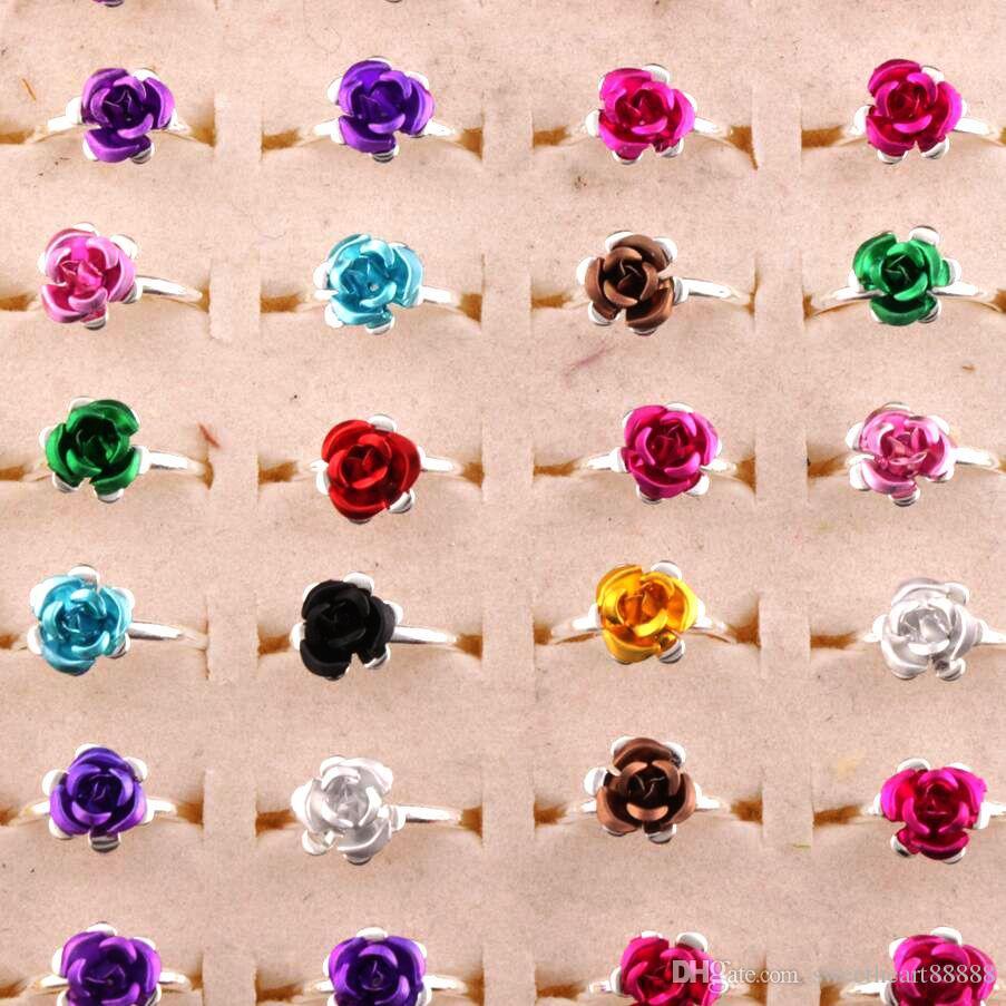 Bunte kleine Blumenring Einstellbare Größe / Frische Band Ringe Schmuck DIY NEUER R3088 / 98