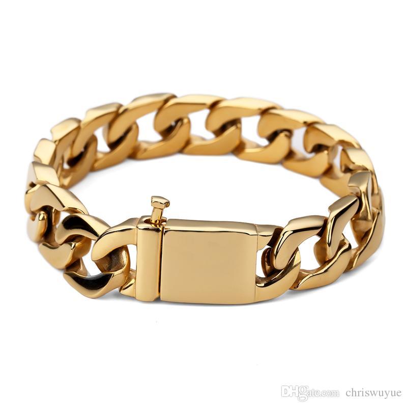 Pulsera popular de los hombres cubanos Brazalete ancho de 15 mm Brazaletes de oro Gran brazalete de acero inoxidable grueso Dé a sus amigos el mejor regalo