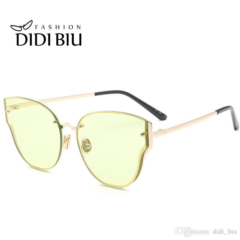 91befc8fa86 DIDI Cat Eye Clear Yellow Sunglasses Women Men Rimless Sun Glasses ...