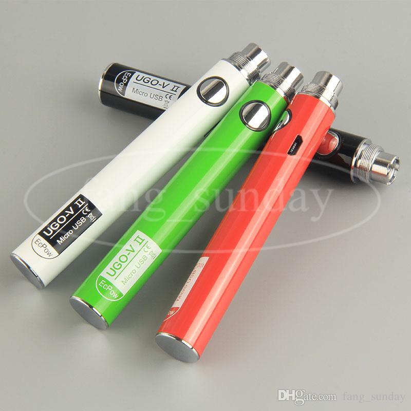 Sigaretta elettronica eVod Vaporizzatore Passa attraverso la torcia elettrica UGO V II 510 filo batteria + Micro cavo USB eGo Charger Vapes