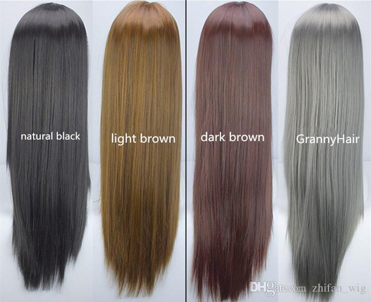 Z&F Harajuku Style GrannyHair 75cm Long Cosplay Wig Cos Hair Matte High Temperature Fiber Brown Grey Black Fashion