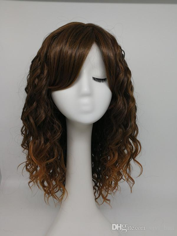 HWG1256 A Deep Wave Style Made Of Natural Fibers Of Coffee And Dark Gold Blended With European Popular Long Curly Hair Wigs