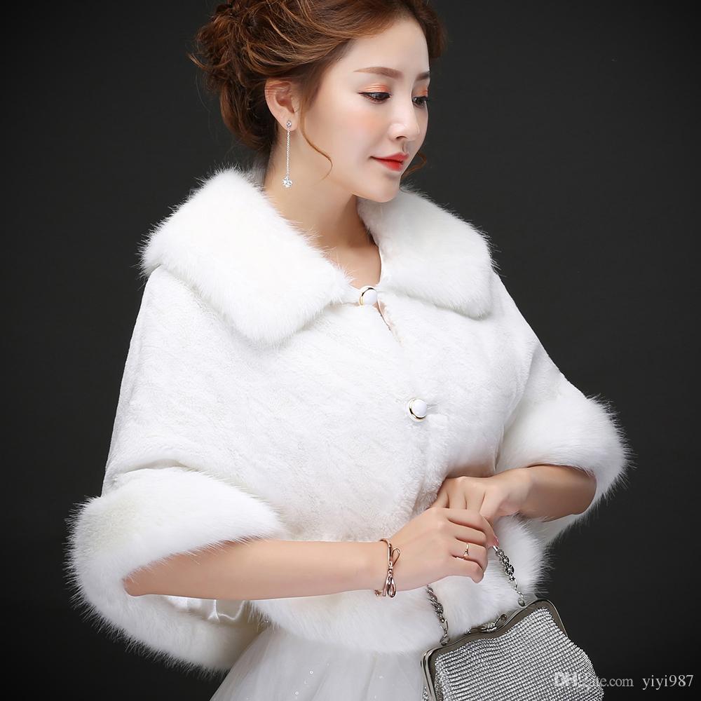 100% Immagine reale Elegante Bianco Perla Bianco Avvolgitore da sposa Cappotto Giacche Boleros Scollegare le spalle Regular Faux Pelliccia Stola di pelliccia Capes la festa di nozze