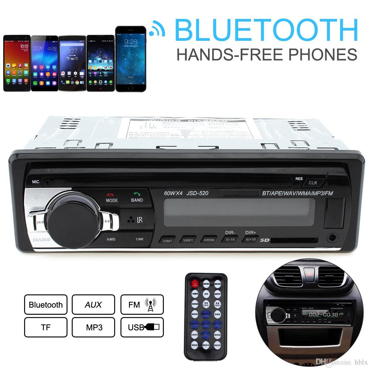 Jsd 520 12v car radio bluetooth remote control mp3 audio player support fm aux input receiver sd usb mp3 mmc wma cau_01i best car audio best car audio