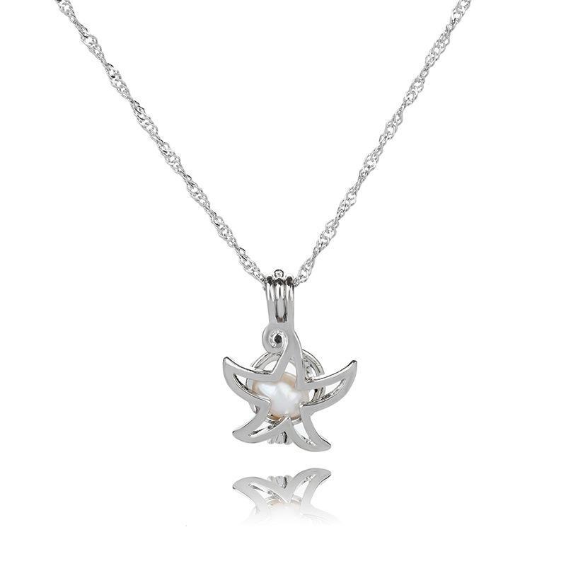 Collana con ciondolo a gabbia di perle Collana con ciondolo a catena a forma di clavicola con ciondolo a forma di cuore