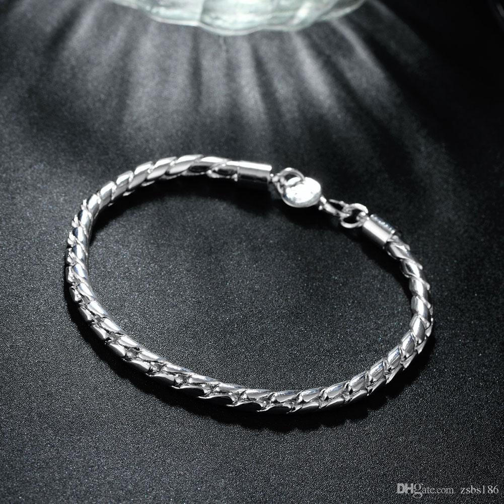 S068 Top quality 925 prata esterlina corda torcida cadeia colar pulseira define moda jóias presente de aniversário para homens frete grátis baixo pri