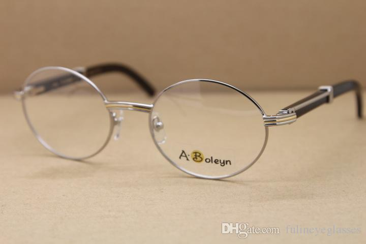 Redondo al por mayor del ojo de vidrios 7550178 Negro cuerno de búfalo de las lentes de los vidrios hombres del envío de la gafas de oro marcos del marco: 55-22-135mm