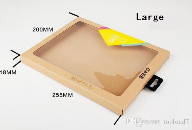 Hook Kraft Brown Paper Retail Box Packaging boxes for iPad 6 Air2 5 3 4 mini 2 3 4 PU Leather Case