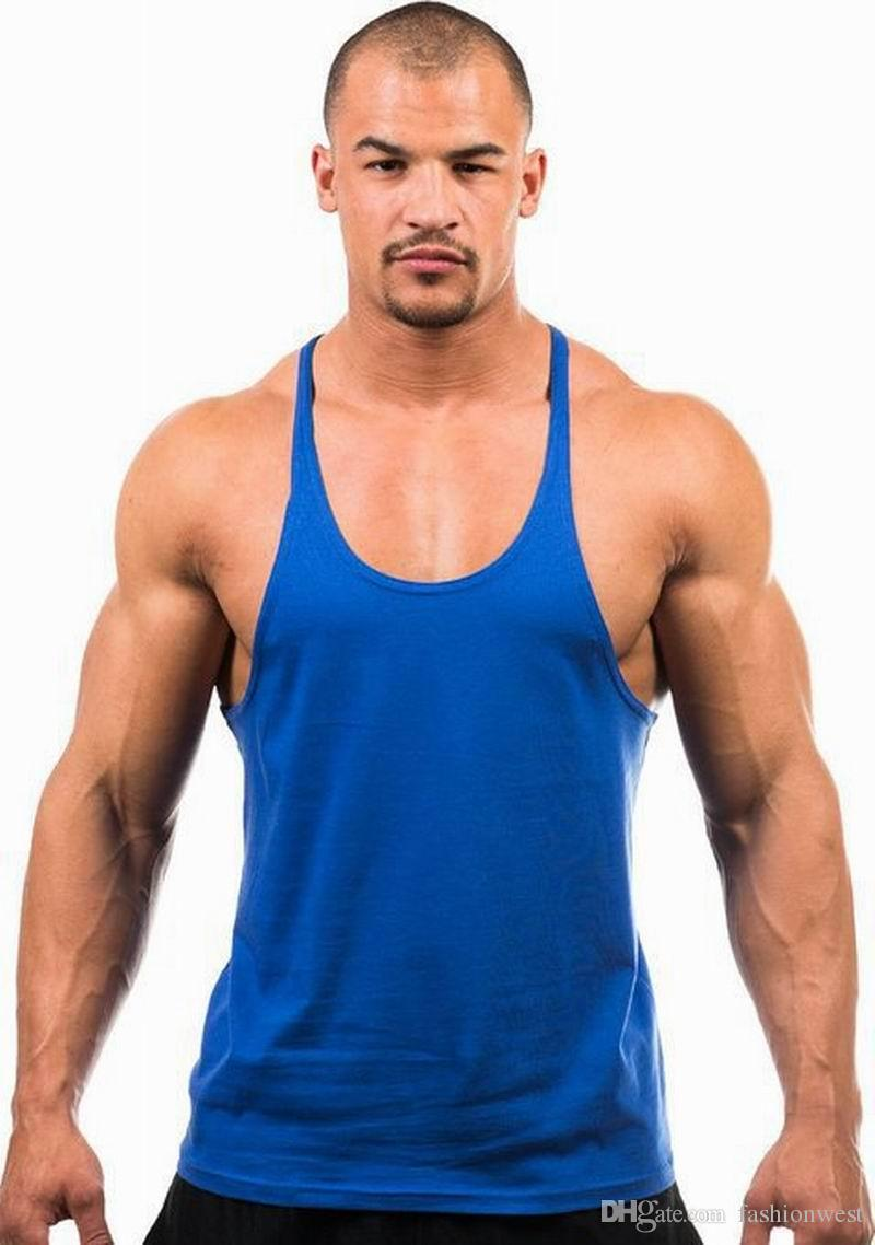 Mens Vest Cotton Stringer Bodybuilding Equipment Fitness Gym Tank Top shirt Solid Singlet Y Back Sport clothes Vest Cotton Vest
