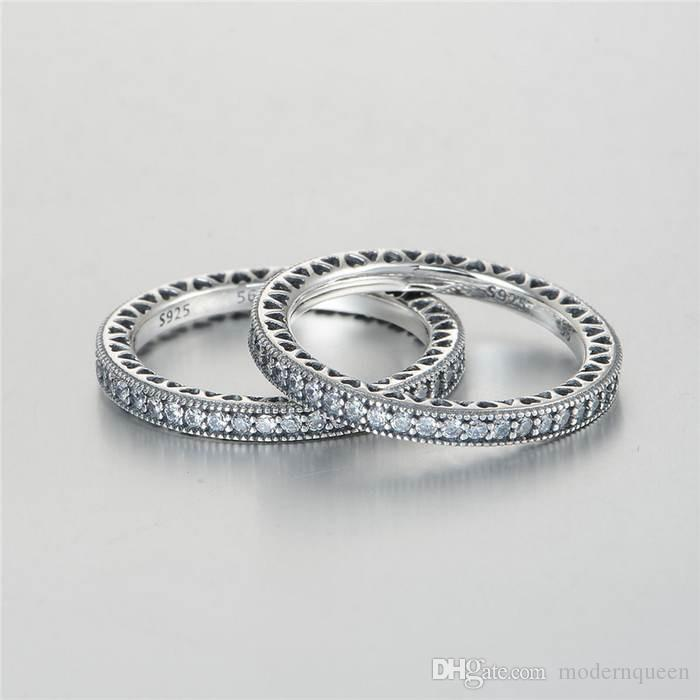 Love heart rings for women S925 Sterling Silver sale fits for pandora style bracelet and charms jewellery for women Rip105H9